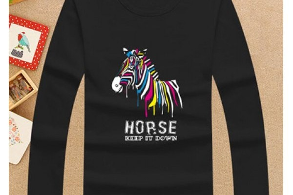 Cute Horse Pattern Long Sleeve Black T-Shirt For Boy